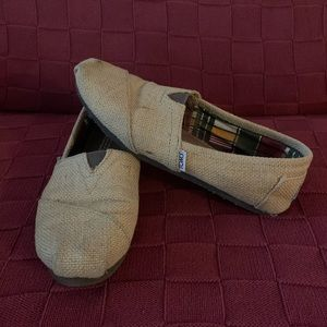 Toms Burlap and Plaid Slip On Shoes